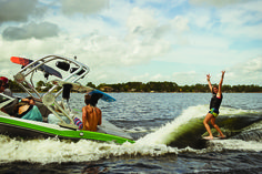 Surfing behind the new MasterCraft X10. Get yours at Gage Marine, Williams Bay WI.