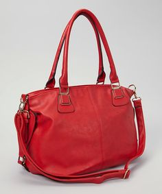 Take a look at this Red Belted Convertible Tote by Akino Collection on #zulily today!