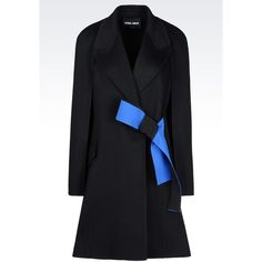 GIORGIO ARMANI Coat In Wool And Cashmere (£4,080) ❤ liked on Polyvore featuring outerwear, coats, black, woolen coat, cashmere coat, wool cashmere coat, double-breasted wool coat and double breasted coat
