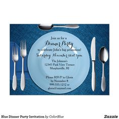 Customizable Invitation made by Zazzle Invitations. Spa Weekend, Dinner Party Invitations, Retirement Parties, Create Your Own Invitations, Zazzle Invitations, White Envelopes, Rsvp, Birthdays, Blue