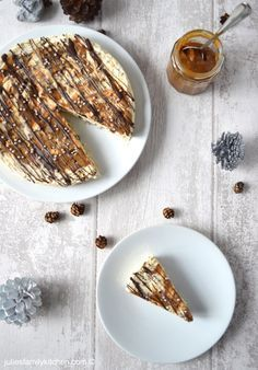 Frozen Chocolate Caramel Cream Meringue Cake.  This delicious ice cream dessert cake is drizzled with caramel and chocolate.  Seriously yummy!
