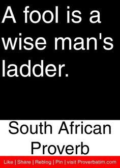 A fool is a wise man's ladder. - South African Proverb #proverbs #quotes