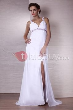 Sexy A-Line V-neck Floor-length Evening Dress