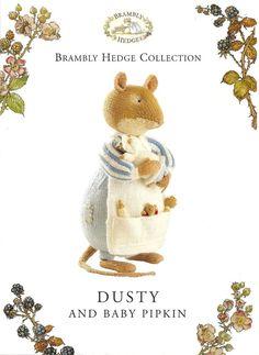 Knitting Pattern ALAN DART BRAMBLY HEDGE Dusty & Baby Pipkin Toy to Knit DK