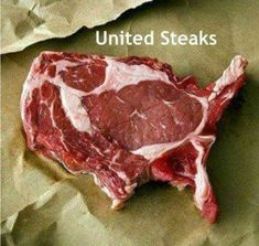United Steak of America! We think this delicious looking American steak looks just like the USA. At MASH our most popular steaks are American. Steaks, Catering, Creative Food Art, Eat This, Food For Thought, Funny Photos, Donald Trump, The Unit, Cool Stuff