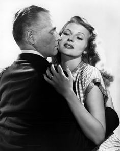 George Macready and Rita Hayworth in a publicity photo for Gilda, 1946.