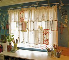 Shabby Chic Curtains | pretty shabby chic curtain made from hankys, doilies and teatowels.