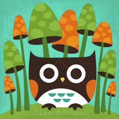89B Bright Owl in Mushroom Forest 6x6 Print. $15.00, via Etsy.