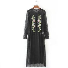 2017 Fashion Women Floral Embroidery Black Mesh Dress Sexy Perspective O Neck Long Sleeve Side Split Midi Dress Cover vestidos