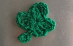 Itty Bitty Shamrock     H-8 (5mm) crochet hook any green worsted weight yarn  Start:  ch 3, join with a sl st to 1st ch to form circle. For ...