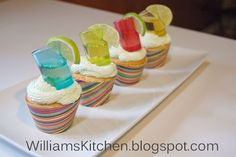 Margarita Cupcakes with Tequila shot topper. Great for cinco de mayo or fiestas themed party's.