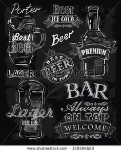 vector chalk beer on chalkboard background by bioraven, via Shutterstock