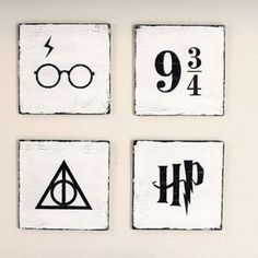 Harry Potter Hand Painted Wooden Signs (4 Piece Set) by YellowDogSigns on Etsy