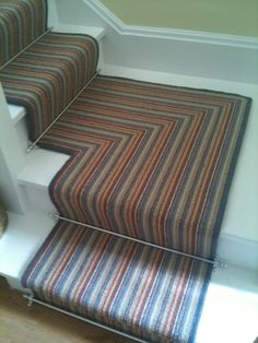 Stripe with silver rods Russdales Stair Rods, Stairs, Contemporary, Rugs, Silver, Home Decor, Farmhouse Rugs, Stairway, Decoration Home