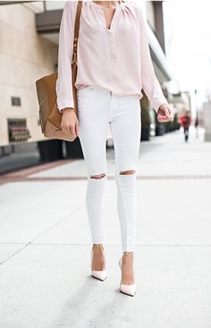 Blush blouse + white denim