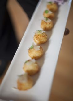 parmesan and truffle risotto balls, by Chef Arpi Magyar, Couture Cuisine Risotto Balls, Hors D'oeuvres, Truffles, Parmesan, Baked Potato, Sprouts, Good Food, Appetizers, Potatoes