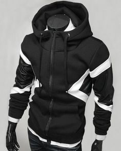 Hit Color PU Leather Spliced Triangle Pattern Front Pocket Drawstring Hooded Long Sleeves Hoodie For Men Cyberpunk Mode, Cyberpunk Clothes, Cyberpunk Fashion, Stylish Hoodies, Cool Hoodies, Hoodie Sweatshirts, Punk Jackets, Sammy Dress, Mens Clothing Styles