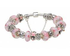 BU11 Pandora Bracelet Pink, Pandora Jewelry, European Fashion, European Style, White Fashion, Women's Fashion, Murano Glass Beads, Girls Jewelry, Heart Charm