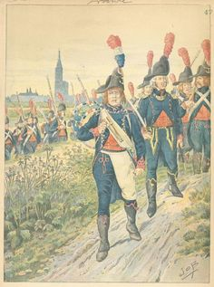 French; Unknown unit on the march, the anchor on the side flap of the hat suggests either a marine unit or a National Guard unit of a seaport or coastal province. By JOB
