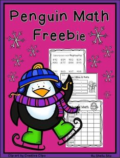 Penguin Math--2nd grade math---FREE--mental math, 3-digit addition and subtraction and place value--free math worksheets for second grade
