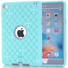 For iPad Mini 4 Retina Case Bling Rhinestone Kids Safe Shockproof Heavy Duty Silicone Hard Case Cover w/Screen Protector+Pen