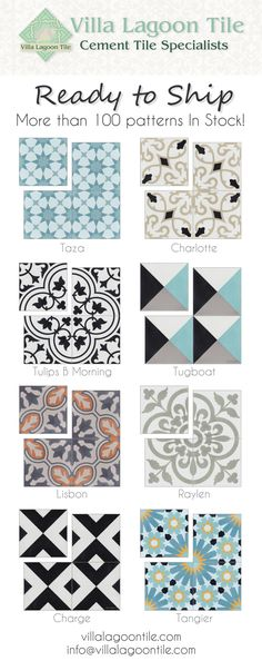 More than 100 different cement tile patterns IN STOCK at villalagoontile.com !