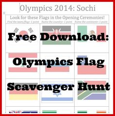 #Sochi2014 #Olympics Activities for #Kids: Opening Ceremonies Flag Scavenger Hunt. So much fun!!
