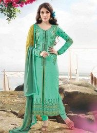 Add grace and charm on your appearance in this green cotton satin designer suit. The desirable embroidered and resham work a intensive feature of this attire. Comes with matching bottom and dupatta. Indian Salwar Kameez, Churidar, Salwar Kameez Online Shopping, Achkan, Asian Wedding Dress, Satin Color, Satin Fabric, Designer Salwar Suits, Designer Dresses