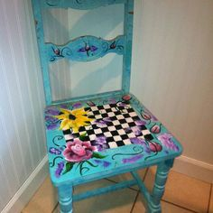 hand painted one of a kind chair and matching by WillowWayMilange