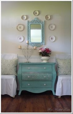 If I could get away with white furniture I would do this color scheme on my main floor: white + cream + pops of robins egg blue.