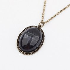 Vintage Modern Style Oval Stone Women's Sweater Chain Necklace