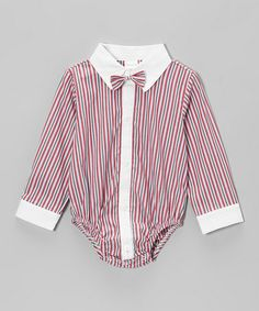 40792108bf0 Red Pinstripe Button-Up Bodysuit - Infant by Joe