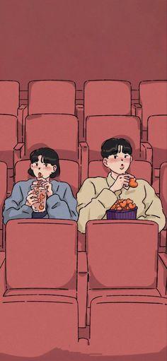 Cute Couple Drawings, Cute Couple Art, Easy Drawings, Anime Scenery Wallpaper, Aesthetic Pastel Wallpaper, Aesthetic Wallpapers, Cartoon Posters, Cute Love Cartoons, Couple Illustration