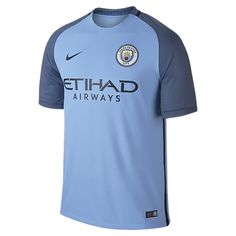 Nike Mens Manchester City FC FC Stadium Jersey-FIELD BLUE: The Manchester City FC Stadium Home Men's Soccer Jersey provides lightweight comfort for cheering from the stands or wearing in the street. Manchester City, Football Kits, Nike Football, Real Madrid Kit, Camisa Nike, World Soccer Shop, Soccer Fans, Soccer Jerseys, Moda Masculina