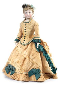 Early Jumeau bisque shoulder head fashion doll circa 1860.