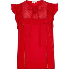 Red lace bib frill top - blouses - tops - women