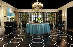 Washington Design Center -- Love everything about this presentation -- especally the floor, chandelier, and blue
