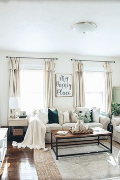 DIY Farmhouse Style Drop Cloth Curtains- 2 Ways - - DIY Drop cloth curtains are a great budget-friendly solution for the perfect farmhouse look. They are inexpensive and very easy to make. NO SEWING REQUIRED. Farmhouse Style Curtains, Farmhouse Decor, My Living Room, Living Room Decor, Bedroom Decor, Drop Cloth Curtains, White Curtains, Diy Curtains, Farm Curtains