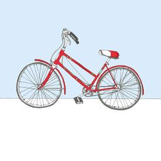 Bicycle Art. Red Schwinn bicycle illustration. by sloeginfizz, $35.00