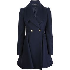 Alexander McQueen double breasted coat (690 KWD) ❤ liked on Polyvore featuring outerwear, coats, jackets, alexander mcqueen, coats & jackets, blue, wool coat, faux wool coat, pleated coat and flared coat