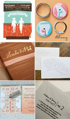Screen-printed invite and state buttons: Green Wedding Shoes  Gold foil booklets: SMP  Calligraphy: Once Wed  Ombre and Letterpress: Oh So Beautiful Paper  Fun Fact Printed Napkins: SMP