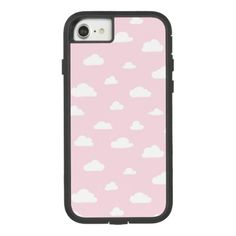 White Cartoon Clouds on Pink Background Pattern Case-Mate Tough Extreme iPhone 8/7 Case - pattern sample design template diy cyo customize