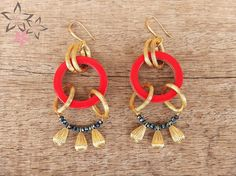 Items similar to ON SALE Off Rio Earrings/Red acrylic hoops/Golden metal charms/Blue crystals/Gold plated brass earring loops/Handmade dangle on Etsy Blue Crystals, Jewelry Collection, Rio, Dangles, Charms, Brass, Drop Earrings, Metal, Gold