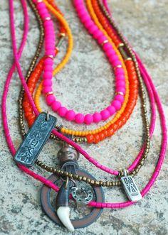 Orange and Pink Glass Bohemian Tribal Long Layered Pendant Necklace | statement jewelry