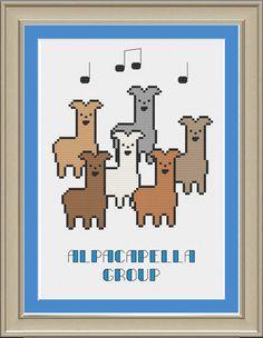 Alpacapella group: funny alpaca cross-stitch pattern