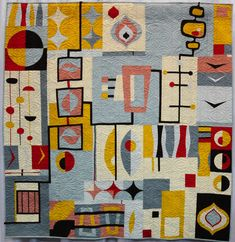 Organic Mid-Century Mod by Laura Bennett ( ), Third Place Group or Bee Quilts Quilting Projects, Quilting Designs, Quilt Inspiration, Creative Inspiration, Quilt Modernen, Art Textile, Contemporary Quilts, Art Abstrait, Small Quilts