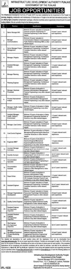 Last Date :09th March, 2017 Location : Punjab Organization : Infrastructure Development Authority Punjab Education Required : MBBS, LLM, Masters, MCS, MIT, MBA, B.Tech, DAE Today on 20th March, we provide youIDAP Jobs 2017 Infrastructure Development Authority Punjab Current Employment Here in the following job page. The Infrastructure Development Authority Punjab which working under the supervision of Government of the Punjab currently invites applications from result oriented…