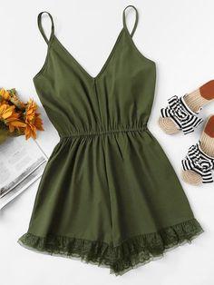 Shop Lace Hem V Neckline Cami Romper online. SHEIN offers Lace Hem V Neckline Cami Romper & more to fit your fashionable needs. Teen Fashion Outfits, Mode Outfits, Look Fashion, Girl Fashion, Girl Outfits, Fashion Styles, Fashion Women, Blazer Outfits, Fashion Black