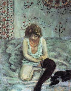 Henri de Toulouse-Lautrec — artist-bonnard:   Woman with Black Stockings via...