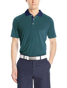 6a5bcd8b796623 adidas Golf Mens Adi 2 Color Merch Stripe Shirt St Dark Slate Solar Lime  Large